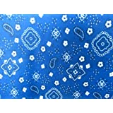 Poly Cotton Print Bandana on Blue Background 60 Fabric By the Yard by The Fabric Exchange
