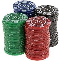 80pcs / Caja Juguetes Juegos Casino Fichas con Flores Póquer Mahjong Color Rojo Negro Azul Verde