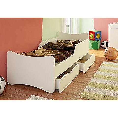 Best For Kids Niños cama con cajón y colchón TÜV certificado en blanco cuatro tamaños
