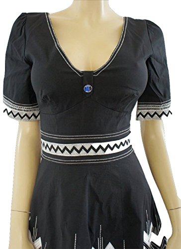 KAREN-MILLEN-Black-White-Embroidered-Short-Sleeve-Dress
