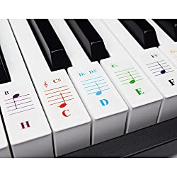 Klavieraufkleber für Keyboards mit 49/61 / 76/88 Tasten - Transparent und Entfernbar mit Kostenlosem Klavier E-Book