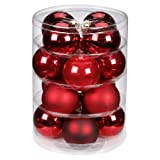 Inge-glas 15007D004 Kugel 75 mm, 16 Stück/Dose. Ruby-Red-Mix(rot,bordeaux,ochsenblut)