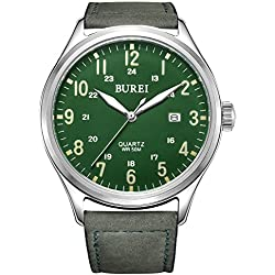 BUREI Unisex Date Luminous Military Watch with Big Green Face and Leather Strap