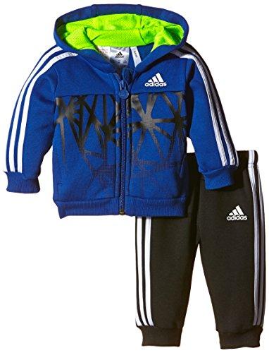 adidas Baby Jogginganzug Football mit Kapuze, Blau/Schwarz/Weiß, 92, AB6994