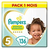 Pampers Premium Protection Taille 5, 136 Couches, 11-16kg Pack 1 Mois