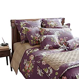 laura ashley parure de lit rose moor grape v1 coton violet 135 x 200 cm 80 x 80 cm amazon. Black Bedroom Furniture Sets. Home Design Ideas