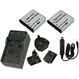 Dot.Foto Kodak LB-060 Batterie (x2) et Chargeur de batterie rapide - comprend l'adaptateur pour automobile et les prises EU et GB, USA [Pour la compatibilité voir la description]