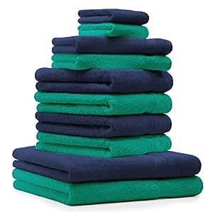 10 tlg. Handtuch Set Premium Farbe Smaragd Grün & Dunkel Blau 100% Baumwolle 2 Duschtücher 4 Handtücher 2 Gästetücher 2 Waschhandschuhe