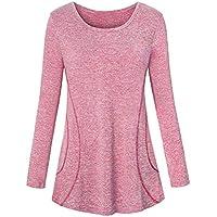 Luckycat Mujeres De Cuello Alto Bolsillo Pullover Loose Jersey De Punto Cuello Blusa Rayadas Elástico Sudadera