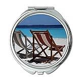 Yanteng Spiegel, kompakter Spiegel, Strand Beachball Ozean, Taschenspiegel, tragbarer Spiegel