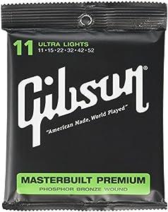 Gibson Gear SAG-MB10 Masterbuilt Premium Cordes en phosphore bronze pour Guitare acoustique Super ultra light 10-47 cordes