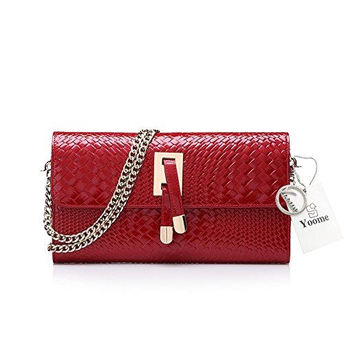 Yoome Frauen Patent Leder Geldbörse Krokodil Muster Kupplung für Damen Kette Schultertaschen gewebt Taschen für Frauen - rot