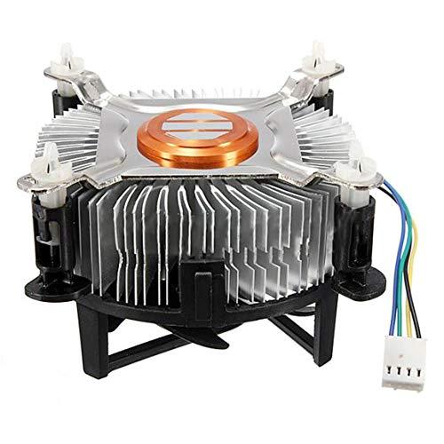 73JohnPol Refrigerador de Aluminio Ventilador de enfriamiento de la CPU del Material para el Ventilador silencioso silencioso de la PC de la computadora para 775/1155/1156, Negro y Plata