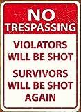 kein Hausfriedensbruch. Zuwiderhandlungen werden erschossen, Überlebenden wieder geschossen werden. ähnlicher Bauart gesehen am GTA Vize-Stadt Ladebildschirm, Zeichen von OMSC. für die Zimmertür, pub, - 30 x 40 cm
