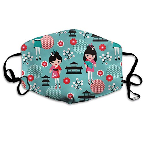 Masken, Masken für Erwachsene, Face Mask Reusable, Warm Windproof Mouth Mask, Funny Japan Geisha Cherry Blossom Reusable Anti Dust Face Mouth Cover Mask Protective Breath Healthy Safety