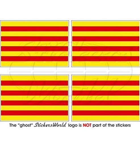 Cataluña bandera de Cataluña España español 2'(50mm) bumper-helmet de vinilo pegatinas, calcomanías x4