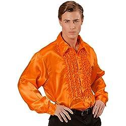 NET TOYS Années 70 Chemise A Volants Froufrous Chemise En Satin Homme Orange Satin Chemise Hommes Rétro Chemise Disco Costume Pour Homme Déguisement de Carnaval XXL 60/62