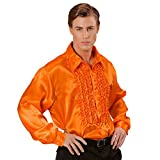 NET TOYS 70er Jahre Rüschenhemd Satinhemd Männer Orange M/L 48-52 Satin Hemd Herren Retro Discohemd Schlager Schlagerhemd Disco Herrenkostüm Faschingskostüm