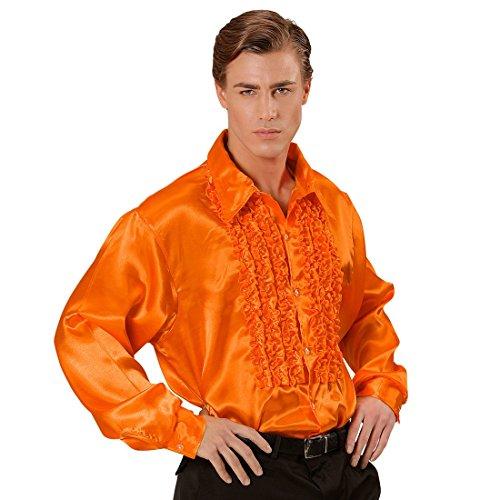 70er Jahre Rüschenhemd Satinhemd Männer Orange XL 54/56 Satin Hemd Herren Retro Discohemd Schlager Schlagerhemd Disco Herrenkostüm Faschingskostüm