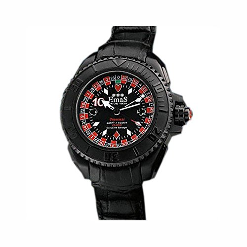 "NO.1 BETTING EMAS ""CASINò"" QUARTZ STAINLESS STEEL 316L IP BLACK REAL ROULETTE MEN'S WATCH"