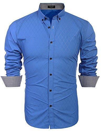 COOFANDY Herren Hemd Flanell Check Shirt,Blau (Hemd Flanell Klassisches)