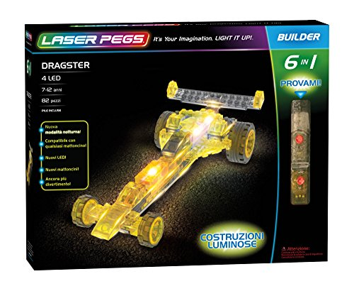 Laser Pegs 61012 Dragster 6 in1 Building Set (Kits Race Modell Car)