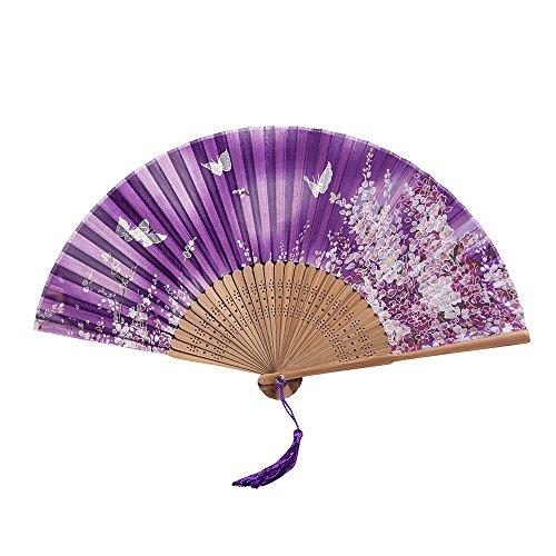 Ziyou Chinesische Blume Seide spanisch Spitze Falten Hand Fan Hochzeit Tanzparty Prom(21cm, Lila)