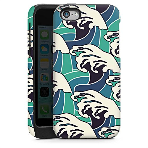 Apple iPhone 5s Housse Étui Protection Coque Vagues Été Mer Cas Tough brillant