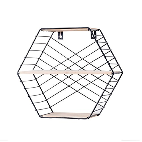 Waroomss Wandregal aus Metall, Wall Mounted Floating Shelves,Wall Storage Rack Hexagon Metal Wire and Wooden Three-Layer Wall Hanging Display Shelf Wall Decoration for Home,White/Black