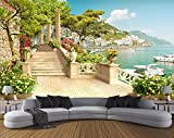 Tapete Garten Balkon Treppe Seeblick 3d Wohnzimmer Schlafzimmer TV Sofa Hintergrund Fototapete 3d Tapete Beibehang, 250 × 175cm