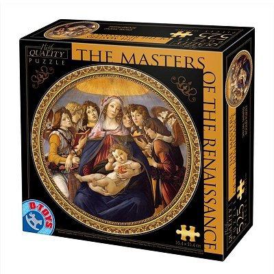 Puzzle 525 Teile rund - Meister der Renaissance - Botticelli : Madonna della Melagra -