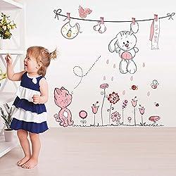 Wallpark Dibujos animados Lindo Blanco Conejo Rosa Gato Tendedero Flor Desmontable Pegatinas de Pared Etiqueta de la Pared, Bebé Niños Hogar Infantiles Dormitorio Vivero DIY Decorativas Arte Murales
