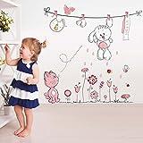 Wallpark Karikatur Niedlich Weiß Kaninchen Rosa Katze Wäscheleine Blume Abnehmbare Wandsticker Wandtattoo, Kinder Kids Baby Hause Zimmer Kinderzimmer DIY Dekorativ Klebstoff Kunst Wandaufkleber