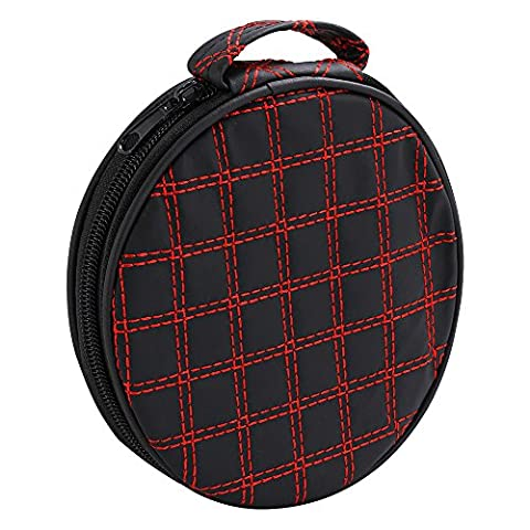 TRIXES 20 CD/DVD/Blu-Ray/Video Game Discs Holder Round Carry Case Black and Red