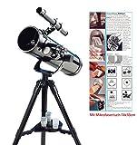 EDU Toys Spiegelteleskop Reflektorteleskop 500/76mm mit Mikrofasertuch