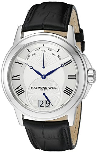 raymond-weil-mens-42mm-black-leather-band-steel-case-quartz-silver-tone-dial-analog-watch-9577-stc-0