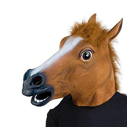 ysoutstripdu Neuheit Tier Pferd Kopf Maske Kostüm Halloween Cosplay Party Prop Spielzeug