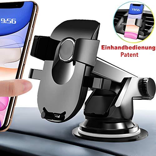AMZOON Handyhalter fürs Auto Handyhalterung KFZ Handy Halterung Universale Windschutzscheibe/Lüftung/Armaturenbrett 3-in-1Smartphone Halterung für iPhone Samsung Huawei Xiaomi LG Sony