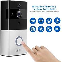 Sonnette vidéo sans fil, LESHP Sonnette vidéo HD 1080P - Audio Bidirectionnel Compatible Wi-Fi - Capteur de mouvement - Vision nocturne - Doorbell Connectée