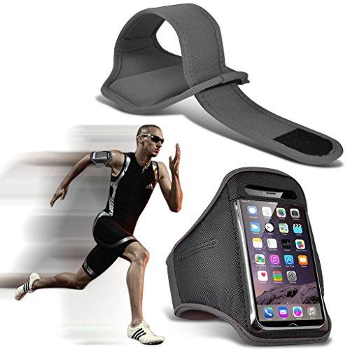I-Sonite Verstellbare Schweiß- / wasserfeste Schutzhülle für Sport/Fitness/Laufen/Radfahren/Fitnessstudio, Größe L grau grau Plum Tag 3G -