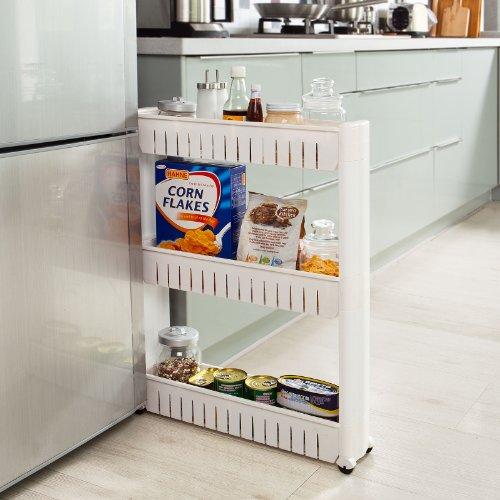 Macallen carrellino salvaspazio scaffale per cucina bianca portaoggetti scaffalatura