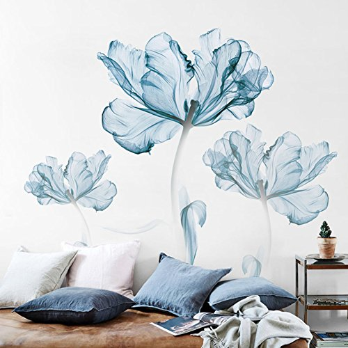 Aiwqto adesivi da parete tridimensionale 3d carta da parati autoadesiva parete carta da parati decorazioni blu lotus divano letto sfondo-a 180x110cm(71x43inch)