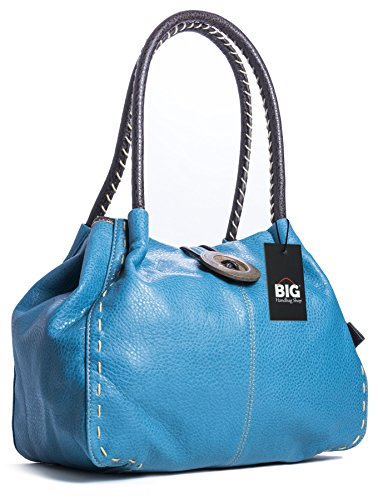 Big Handbag Shop Trendy Designer Boutique in finta pelle grande pulsante Dettagli Borsa A Tracolla, blu (Medium Teal (FZ574)), Taglia