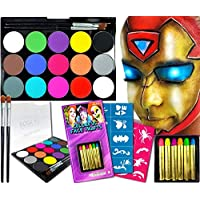 Face Painting Kit Paint Brush Set Crayons Stencils Craft Kits for Kids Childrens paints White Rainbow Face Paint Art Supplies Paint Halloween Fancy Dress Adult Festival Accessories Arts and Crafts