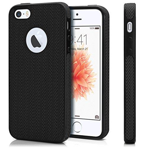 Chevron Case für iPhone 5 / 5S / SE | OneFlow Schutzhülle aus Silikon und TPU | Zubehör Cover zum Handy Schutz | Handyhülle Bumper Tasche Textil Optik in Türkis Nero