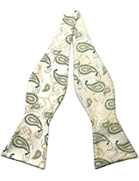 PenSee Mens Self Bow Tie Classic Paisley Woven Silk Bow Ties-Various Colors