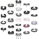 MingJun 25 Stück Choker Halskette Spitze Gothic Tattoo Choker Stretch Troddel Halskette Kette mit Anhänger für Frauen