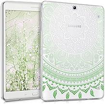 kwmobile Funda transparente para Samsung Galaxy Tab S2 9.7 T810N/T813N/T815N/T819N carcasa de silcona TPU para tablet funda protectora con Diseño sol indio en menta blanco transparente