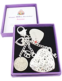 Happy 60th Birthday Lucky Sixpence Keepsake Gift (with Engraved charm)