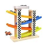 BALOO SPIELE. Holzrennbahn mit 4 Sportwagen. Rasantes Holzspielzeug zur Förderung der Konzentration von Kindern